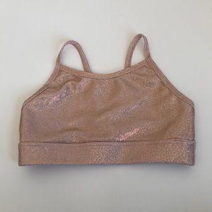 Ingenue Sparkle Blush Rose Gold Dance Bra Top LC